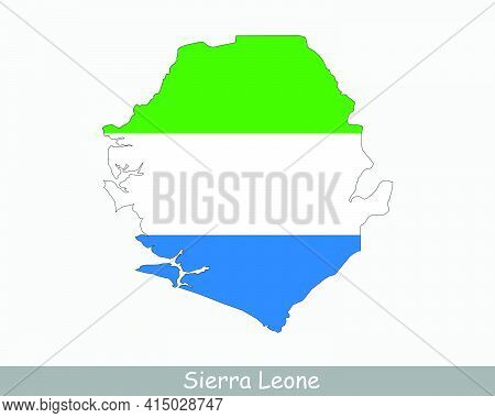 Sierra Leone Flag Map. Map Of The Republic Of Sierra Leone With The Sierra Leonean National Flag Iso