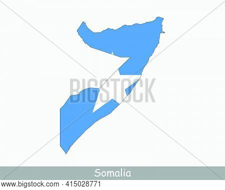 Somalia Flag Map. Map Of The Federal Republic Of Somalia With The Somali National Flag Isolated On A