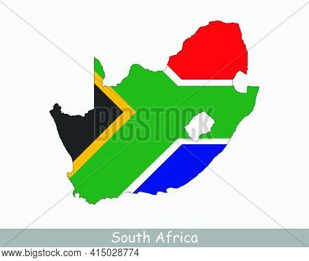 South Africa Flag Map. Map Of The Republic Of South Africa With The South African National Flag Isol