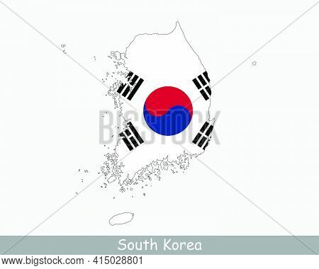 South Korea Flag Map. Map Of The Republic Of Korea With The Korean National Flag Isolated On A White