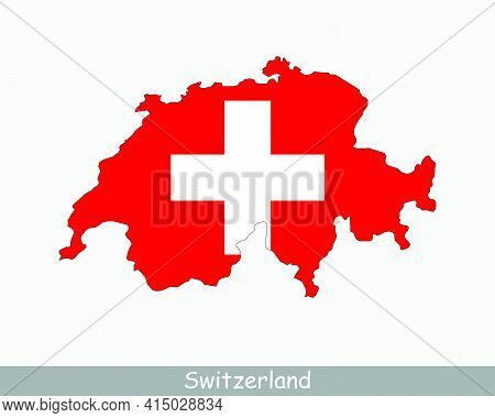 Switzerland Flag Map. Map Of The Swiss Confederation With The Swiss National Flag Isolated On A Whit