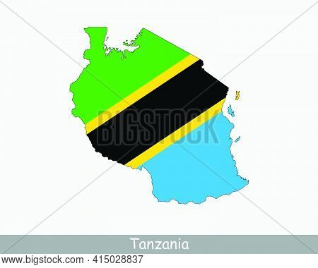 Tanzania Flag Map. Map Of The United Republic Of Tanzania With The Tanzanian National Flag Isolated