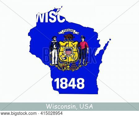 Wisconsin Map Flag. Map Of Wi, Usa With The State Flag Isolated On A White Background. United States