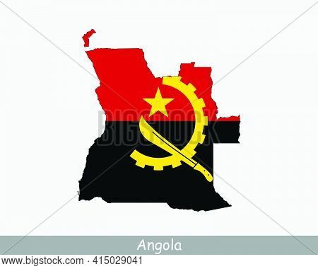 Angolan Map Flag. Map Of Angola With The National Flag Of Angola Isolated On White Background. Vecto