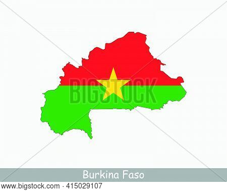 Burkina Faso Map Flag. Map Of Burkina Faso With The Burkinese National Flag Isolated On White Backgr