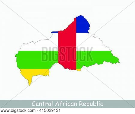 Central African Republic Map Flag. Map Of Central African Republic With National Flag Isolated On Wh