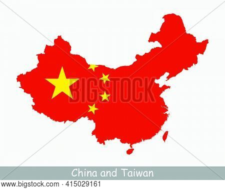 China And Taiwan Map Flag. Map Of China And Taiwan With The Chinese National Flag Isolated On White