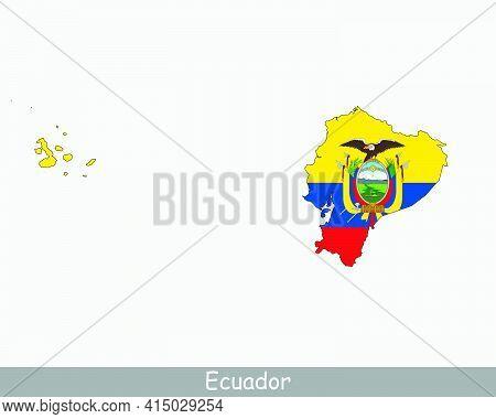 Ecuador Map Flag. Map Of Ecuador With The Ecuadorian National Flag Isolated On White Background. Vec