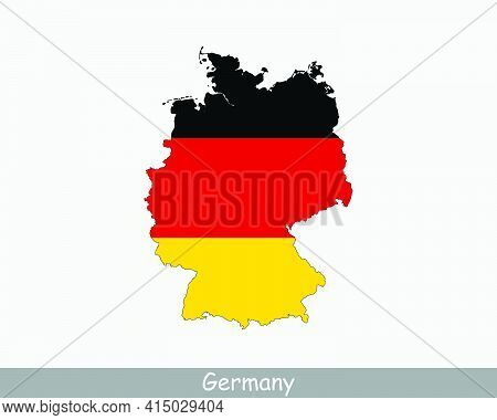 Germany Map Flag. Map Of The Federal Republic Of Germany With The German National Flag Isolated On W