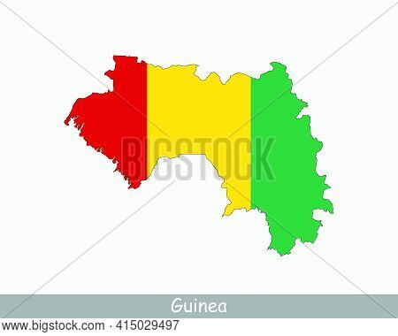 Guinea Map Flag. Map Of The Republic Of Guinea With The Guinean National Flag Isolated On White Back