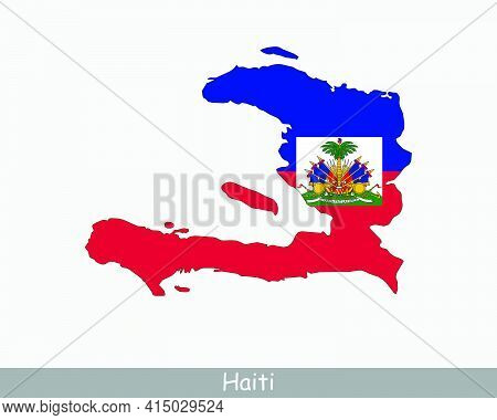 Haiti Map Flag. Map Of The Republic Of Haiti With The Haitian National Flag Isolated On White Backgr