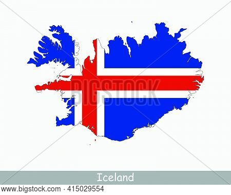 Iceland Map Flag. Map Of Iceland With The Icelandic National Flag Isolated On White Background. Vect