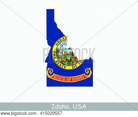 Idaho Map Flag. Map Of Id, Usa With The State Flag Isolated On White Background. United States, Amer