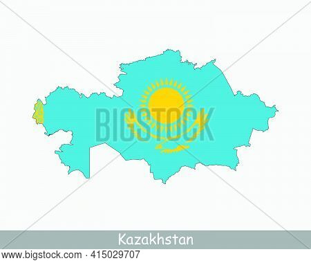 Kazakhstan Map Flag. Map Of The Republic Of Kazakhstan With The Kazakhstani National Flag Isolated O