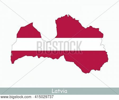 Latvia Map Flag. Map Of The Republic Of Latvia With The Latvian National Flag Isolated On White Back
