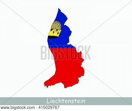 Liechtenstein Map Flag. Map Of The Principality Of Liechtenstein With National Flag Isolated On Whit