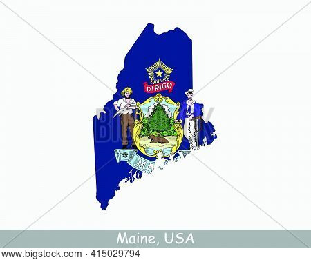 Maine Map Flag. Map Of Me, Usa With The State Flag Isolated On White Background. United States, Amer