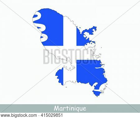 Martinique Map Flag. Map Of Martinique With Flag Isolated On White Background. Overseas Department,