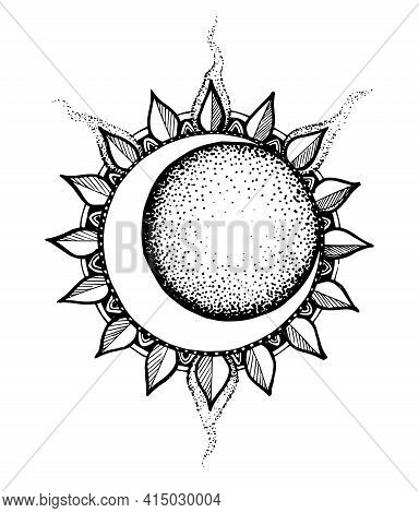 The Logo Of The Sun And Moon. An Astronomical Icon. Astrological Symbol. White Lines Of Art Are Isol