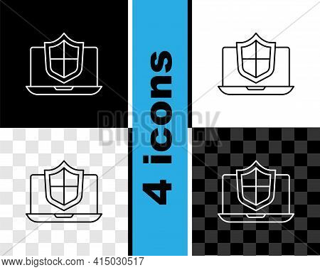 Set Line Laptop Protected With Shield Icon Isolated On Black And White, Transparent Background. Pc S