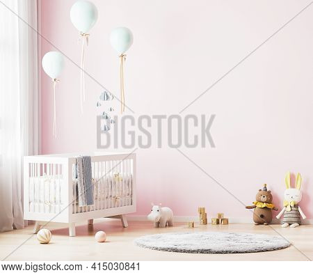Pink Nursery Room Interior Background With Baby Bedding, Toys, Balloons, Nursery Mock Up, Kids Room