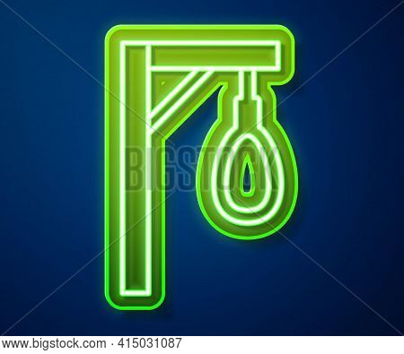 Glowing Neon Line Gallows Rope Loop Hanging Icon Isolated On Blue Background. Rope Tied Into Noose.