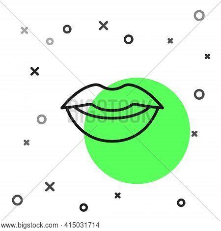 Black Line Smiling Lips Icon Isolated On White Background. Smile Symbol. Vector