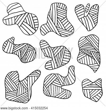 Set Of Doodle Striped Splash Icons Isolated On White Background. Uneven Shapes. Cute Smears, Creativ