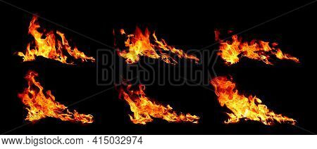 Fire Flames On Black Background. Image Of Blaze Fire Flame Texture And Burning Fire For Decorative