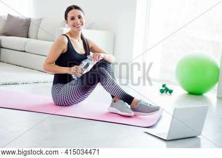 Full Length Profile Side Photo Of Young Attractive Woman Break Pause Sit Mat Drink Water Refreshment