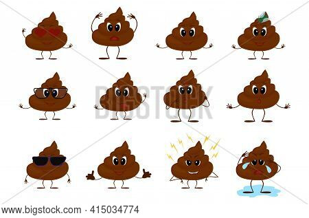 Cartoon Poo Character, Set Of Emotions Icon. Mascot Pile Of Shit Vector Illustration Isolated On Whi