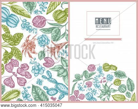 Menu Cover Floral Design With Pastel Ficus, Iresine, Kalanchoe, Calathea, Guzmania, Cactus Stock Ill