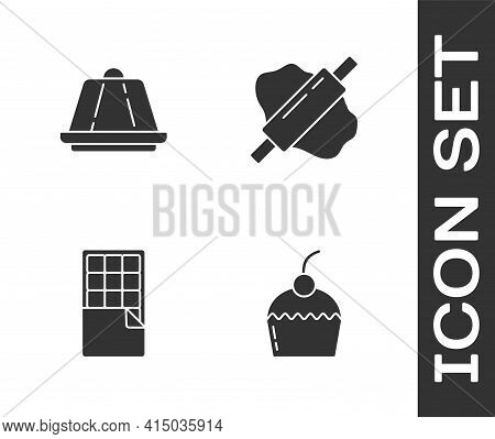 Set Cake, Pudding Custard, Chocolate Bar And Rolling Pin On Dough Icon. Vector