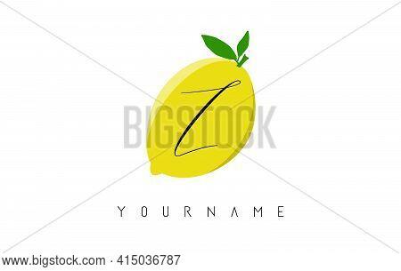 Handwritten Z Letter Logo Design With Lemon Background. Creative Vector Illustration With Lemon And
