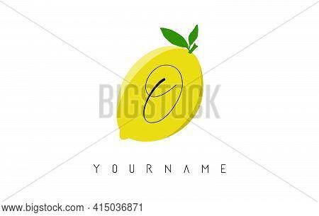 Handwritten O Letter Logo Design With Lemon Background. Creative Vector Illustration With Lemon And