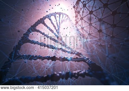 Biotechnology And Molecular Engineering. 3d Illustration, Science And Technology Concept Of Genetic