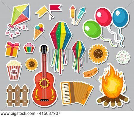 Festa Junina Stickers Set. Brazilian Latin American Festival, Celebration Of Traditional Symbols. Co
