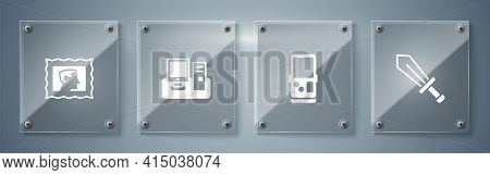 Set Sword For Game, Tetris, Monitor With Keyboard And Postal Stamp. Square Glass Panels. Vector