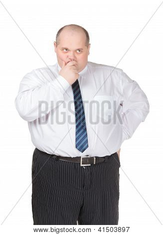 Obese Businessman Making Gesturing