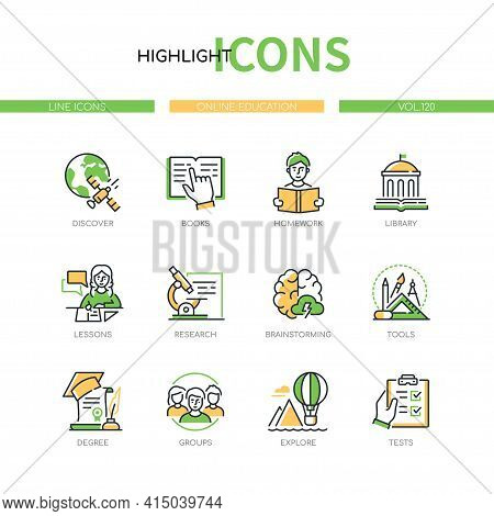 Online Education - Line Design Style Icons Set