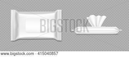 Wet Wipes Package Mockup. Antibacterial Hand Hygiene Tissue Pack. Vector Realistic Illustration Of B