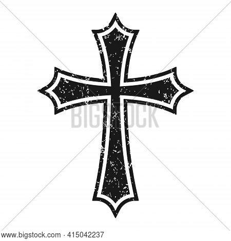 Cross Vector Shape Symbol With Grunge Texture. Christianity Sign. Christian Religion Icon. Catholic