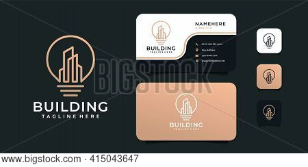 Light Bulb Building Real Estate Idea Logo With Business Card Vector Template. Logo Can Be Used For I