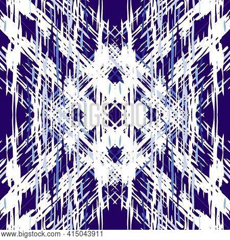 Ikat, Tie Dye. Batik, Hand Drawn Seamless Pattern. Ethnic Texture. Hand Drawn Painted. Blue Cyan Tri