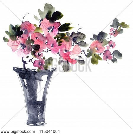Watercolor And Ink Illustration Of Bouquet With Flowers, Buds And Leaves. Oriental Traditional Paint