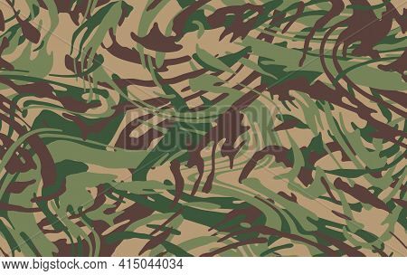 Camo Texture For Army Clothing. Zebra Stylish Safari Camo Background. Soldier Green Brown And Beige