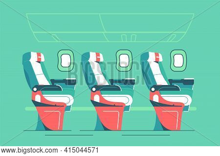 Cabin Of Seats For Passengers On Plane Vector Illustration. Salon Interior In Aircraft Flat Style. E
