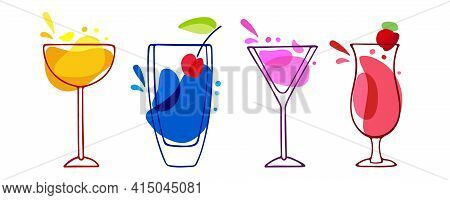 Tasty Alcoholic Cocktails Set. Various Colored Drinks. Mixed Drinks. Bright Pink Cocktails In Glass.