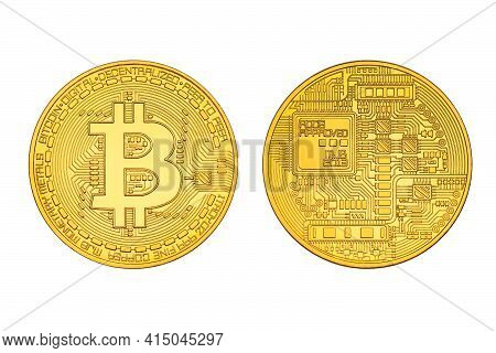 Two Sides Of One Bitcoin Close-up With Bit Symbol Isolated On White Background. Head And Tail Sides.