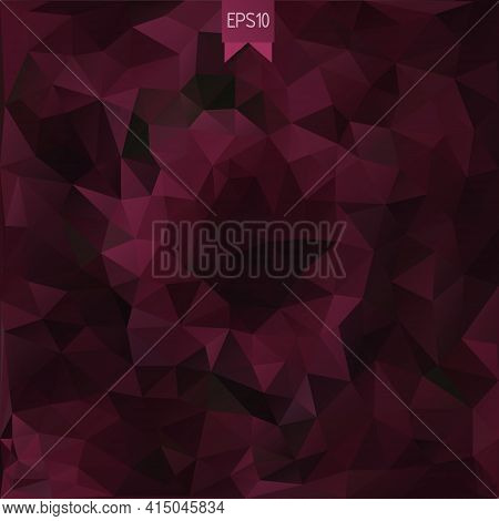 Vector Abstract Background In Low Poly Style With Badge. Polygonal Template Of Vinous Rumpled Triang
